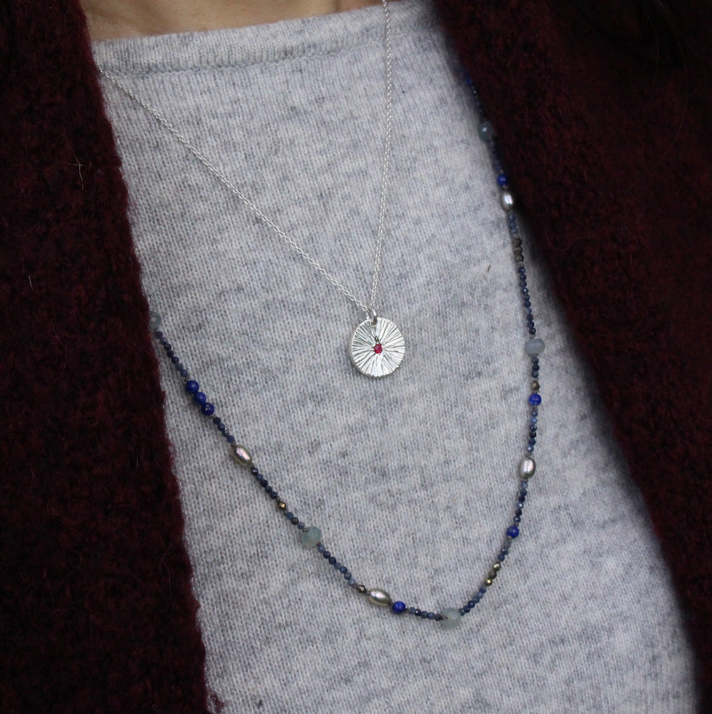 Long Silver and Gemstone Necklace