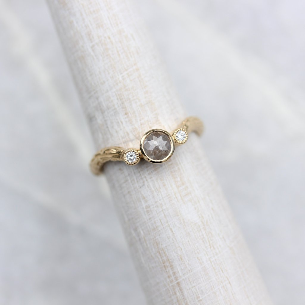 Rose cut diamond branch Engagement ring