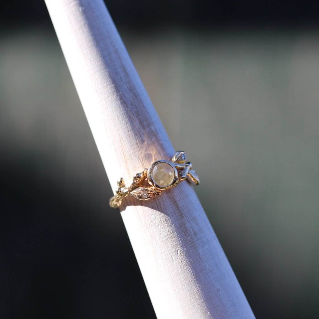 Leaf and Branch Rose cut Engagement ring