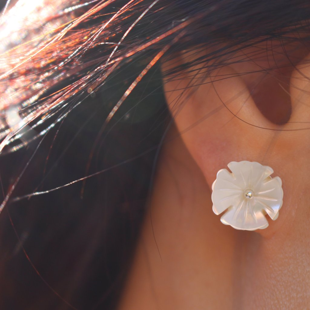 Carved Shell Floral Studs - Kathryn Rebecca