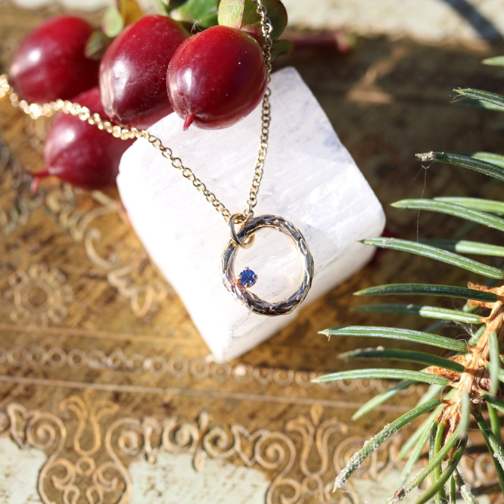 Blooming Branch Circle with Sapphire Necklace - Kathryn Rebecca