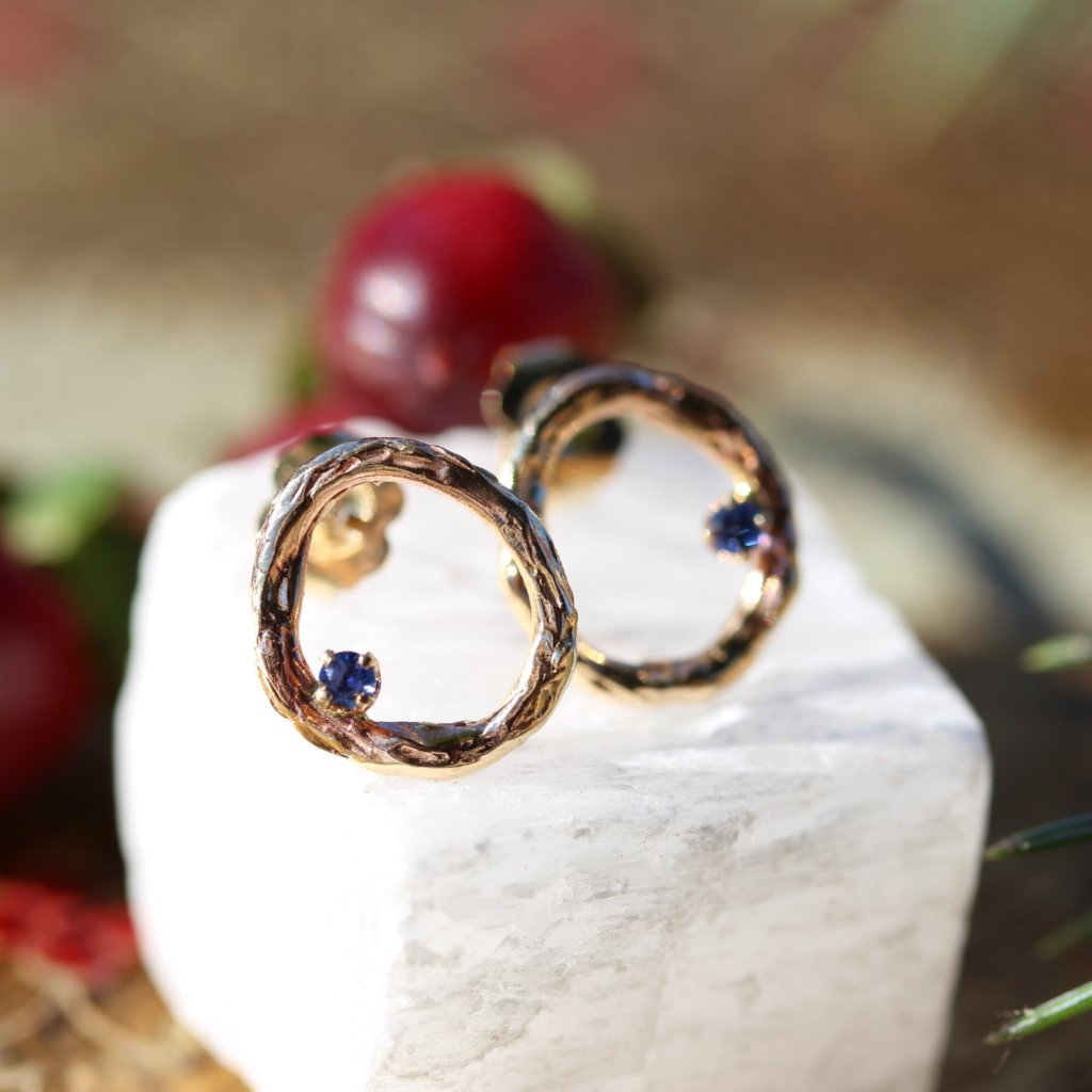 Blooming Branch Circle with Sapphire Earrings