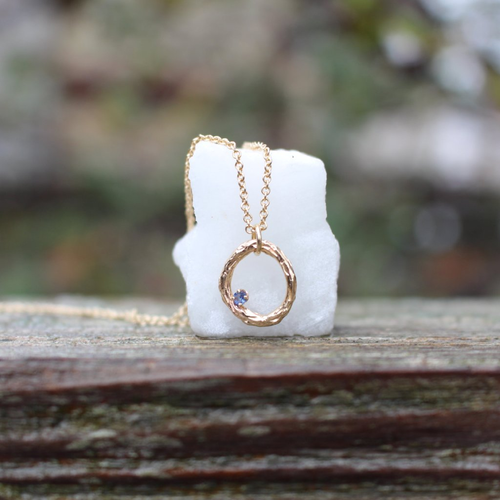 Blooming Branch Circle with Sapphire Necklace