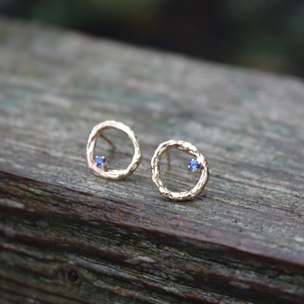 Blooming Branch Circle with Sapphire Earrings - Kathryn Rebecca