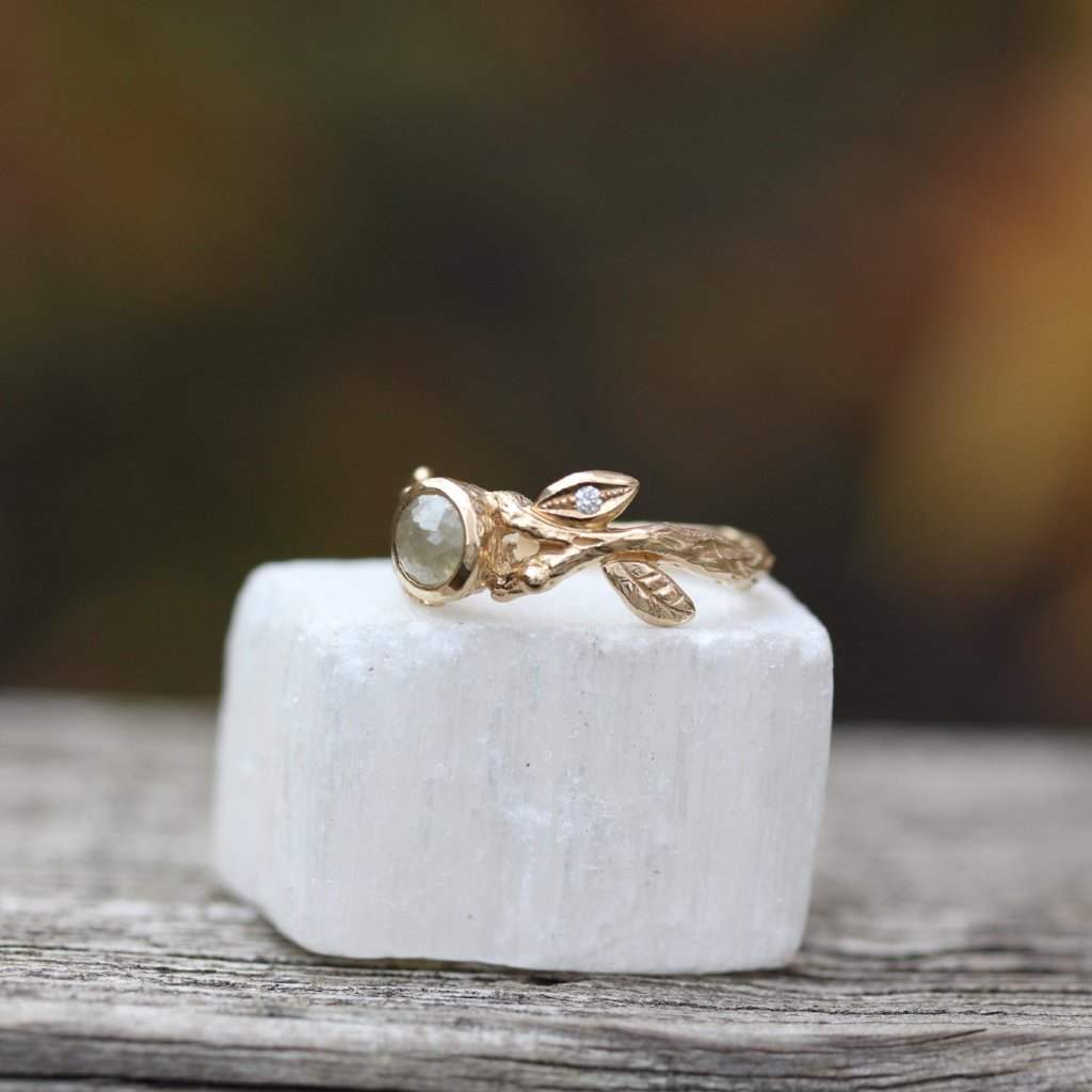 Leaf and Branch Rose cut Engagement ring - Kathryn Rebecca