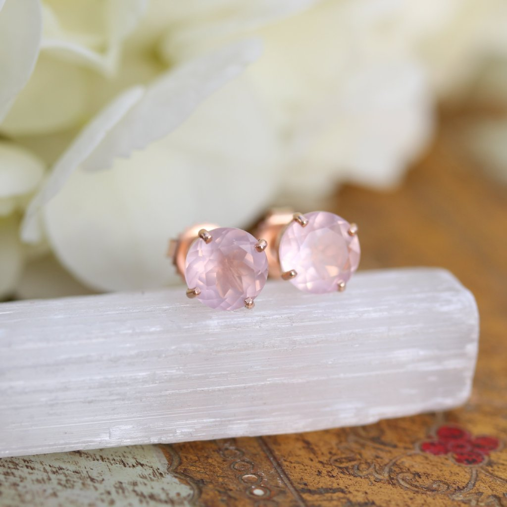 Rose Quartz Stud Earrings - Kathryn Rebecca