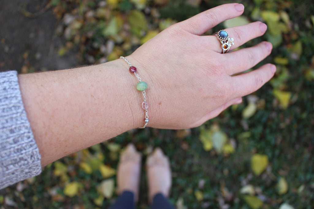 Opal meets tourmaline everyday bracelet