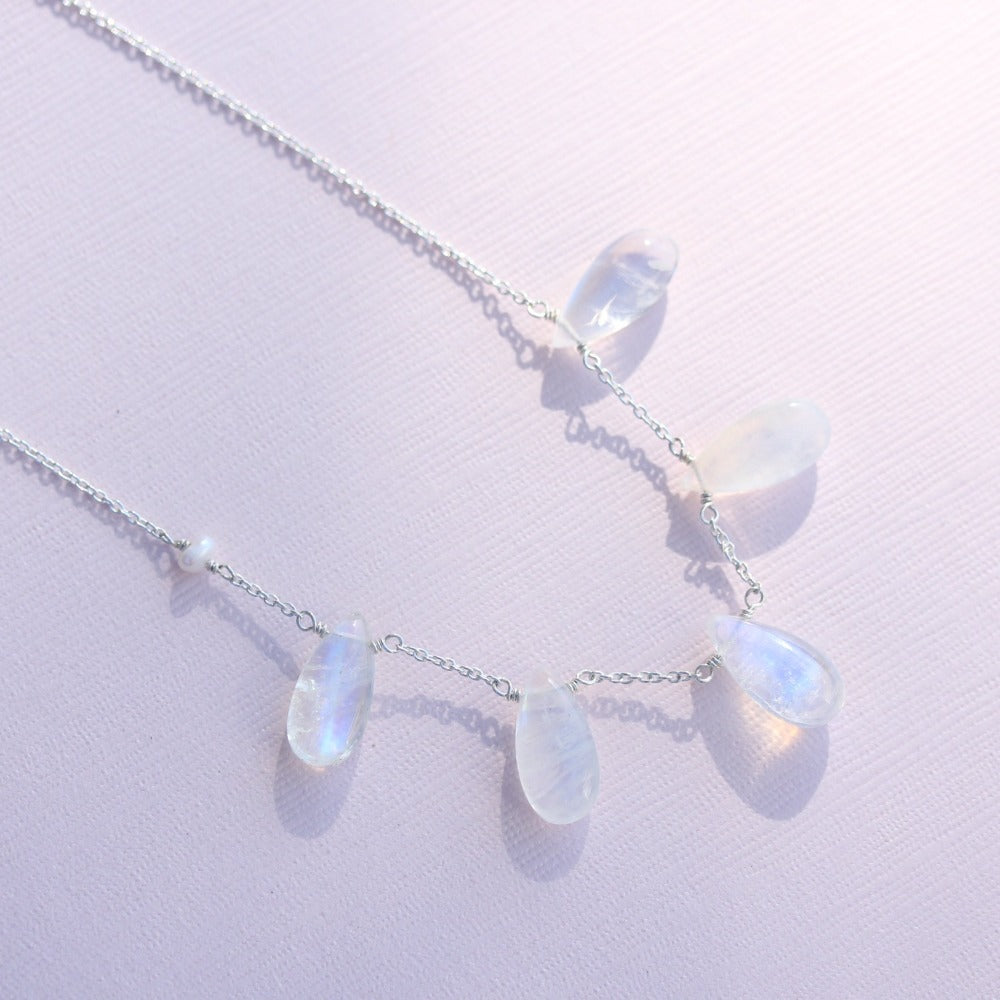 Delicate gemstone drop necklace