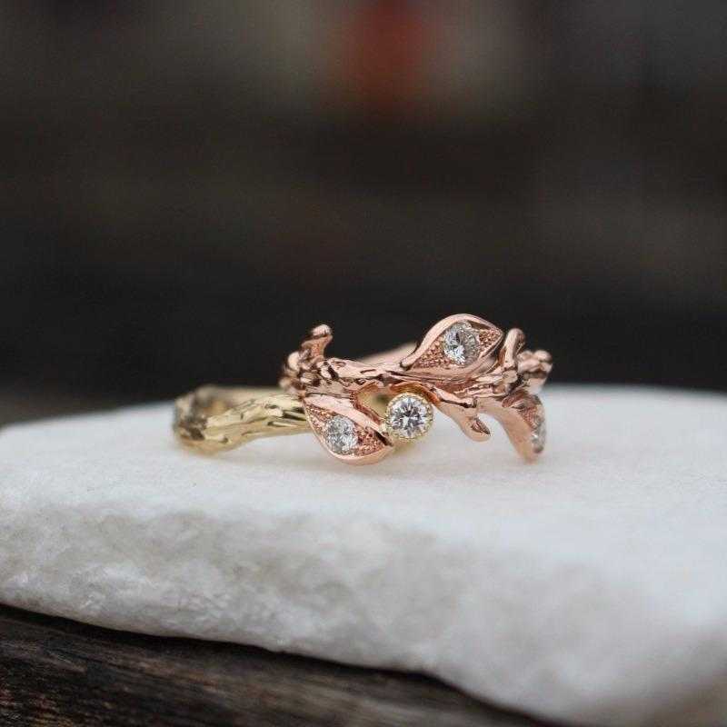 Leaf engagement ring and branch band