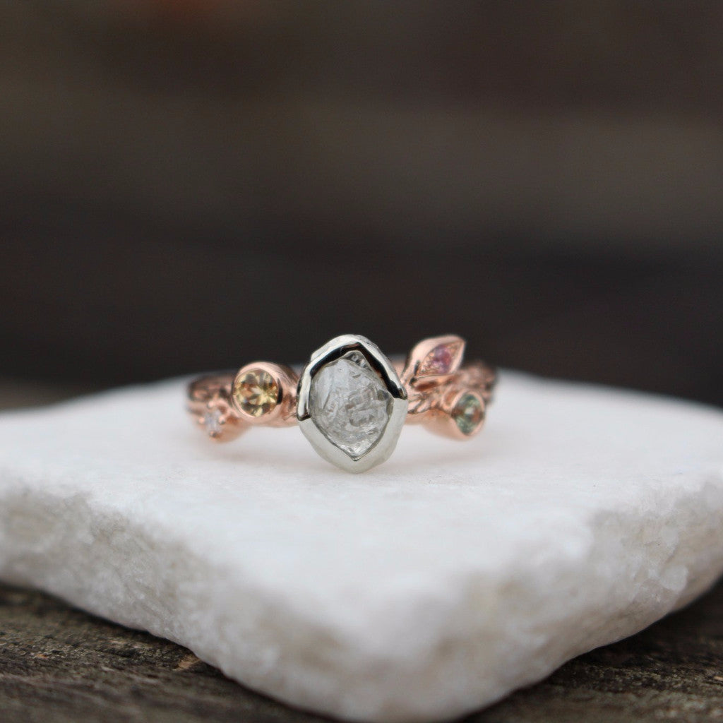 Rough diamond leaf and branch engagement ring - Kathryn Rebecca