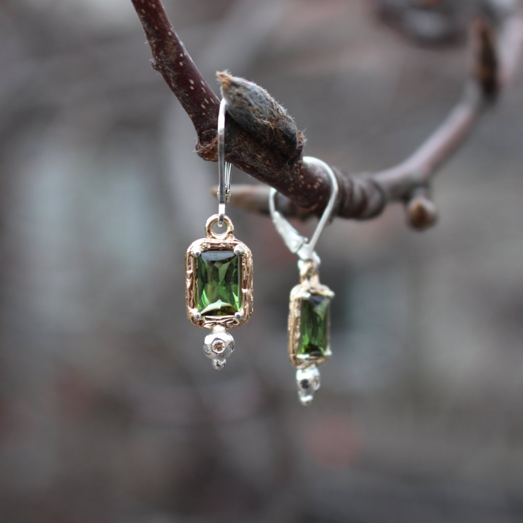 Tourmaline Two tone drop Earrings - Kathryn Rebecca