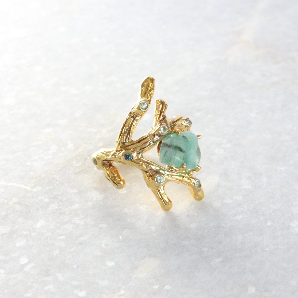 Aventurine branch ring