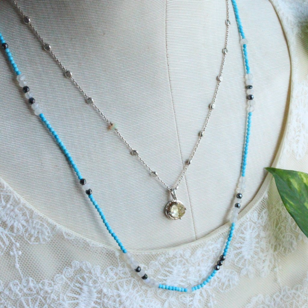 Clover and turquoise necklace