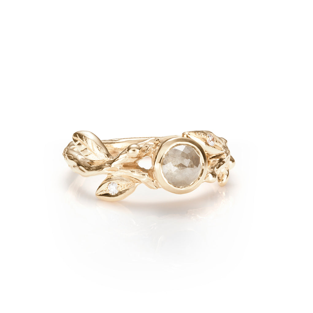 Leaf and Branch Rose cut Diamond Ring