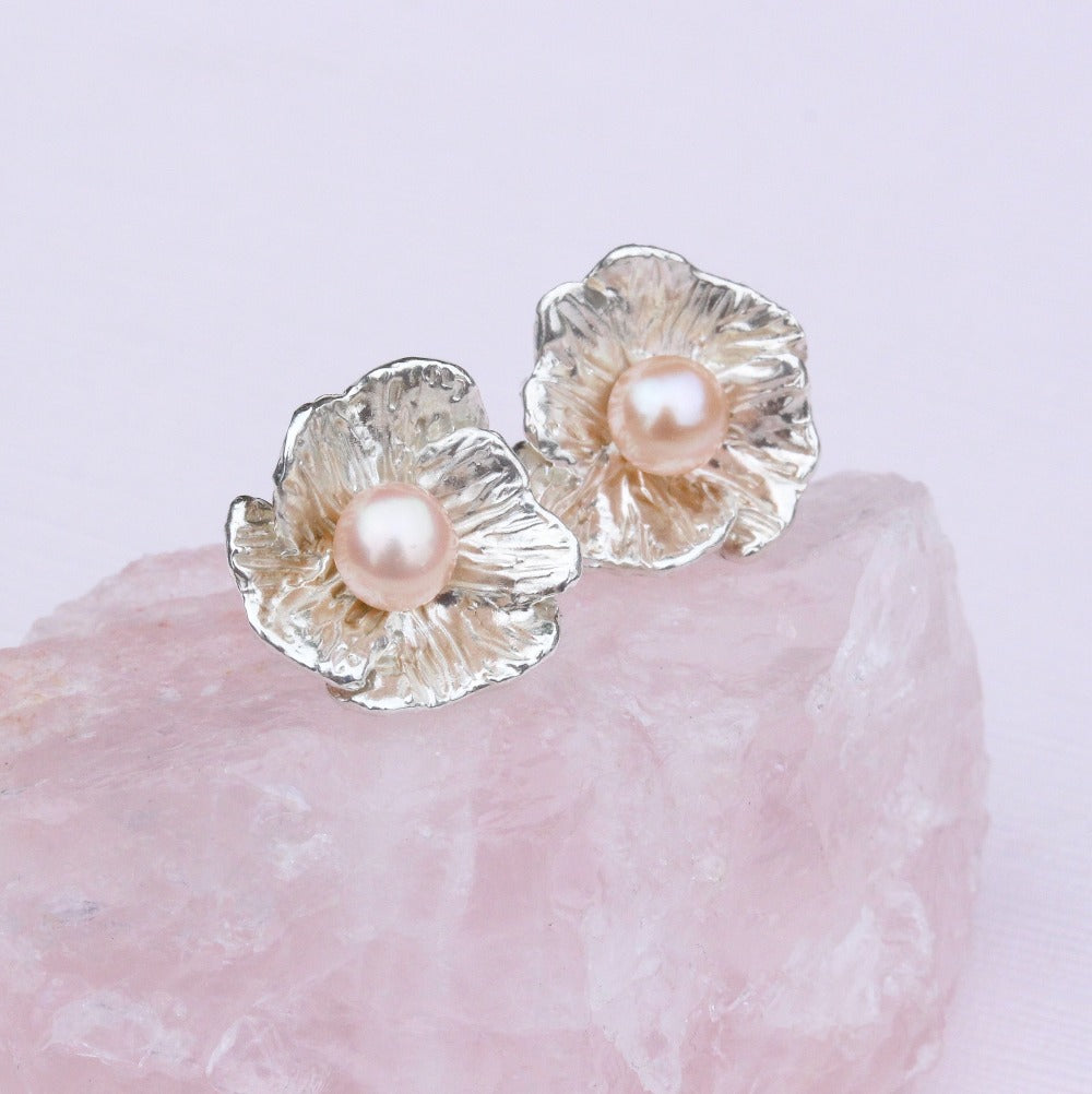 Poppy studs with pearl | Kathryn Rebecca