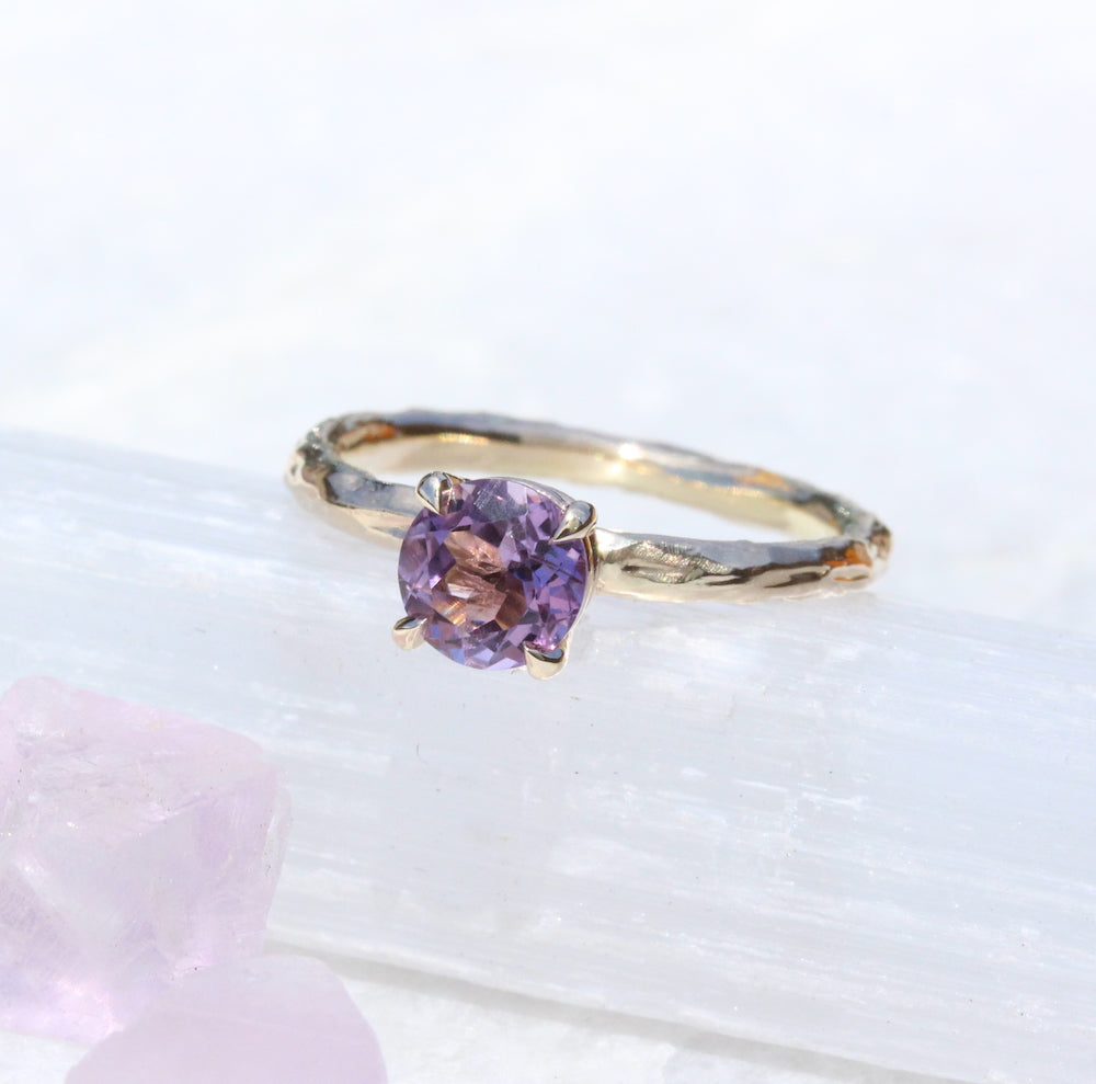 Amethyst and branch ring