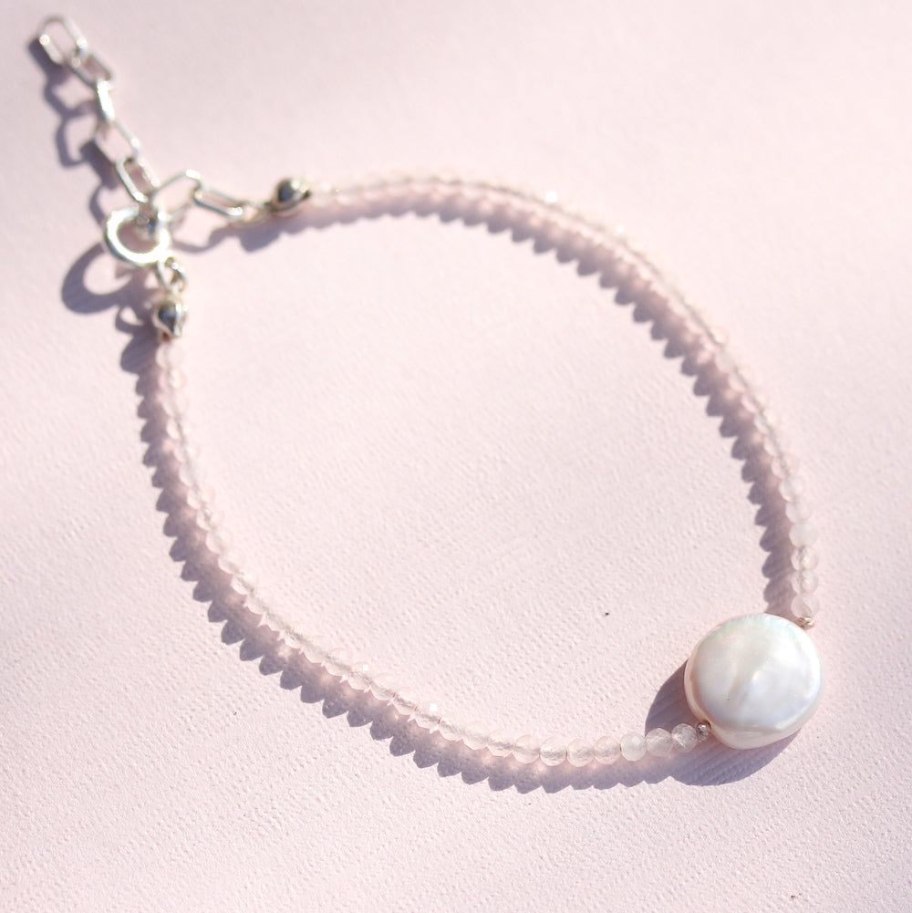 Coin pearl and Rose quartz bracelet