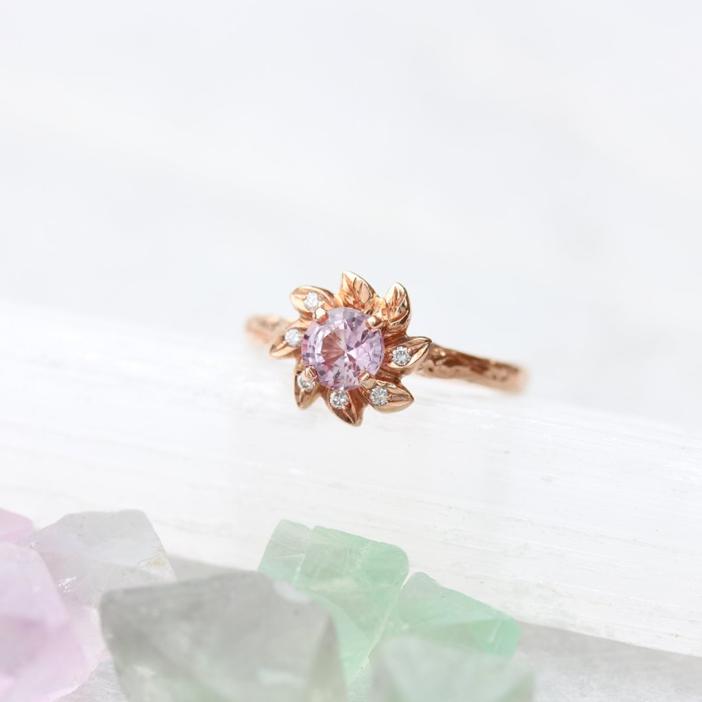 Leaf Halo Engagement ring