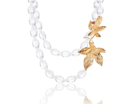 Autumn Leaves - Clear quartz and rhodolite garnet
