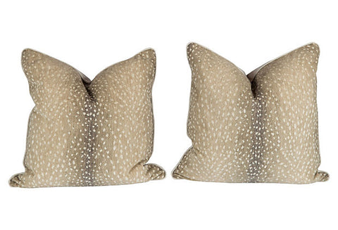 Stone Antelope Pattern Pillows, Pair