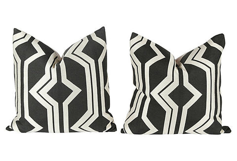 Dark Charcoal & Ivory Geometric Pillows, Pair