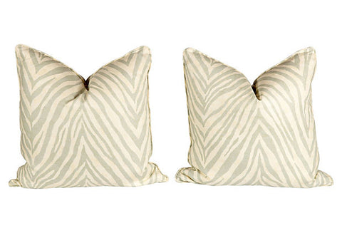Seafoam Green Linen Zebra Pillows, Pair