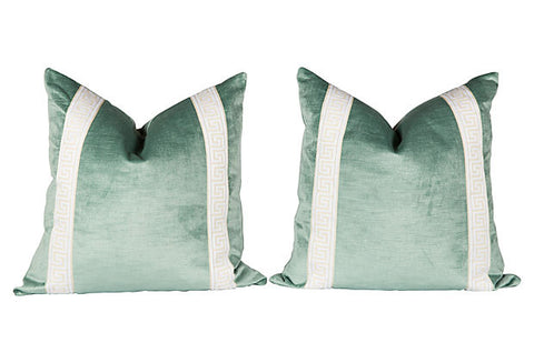 Seafoam Greek Key Velvet Pillows, Pair