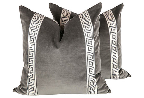 Charcoal Velvet Greek Key Pillows, Pair