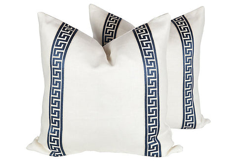Ivory & Blue Linen Greek Key Pillows