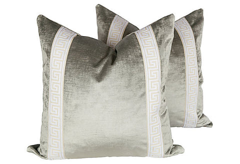 Platinum Velvet Greek Key Pillows, Pair