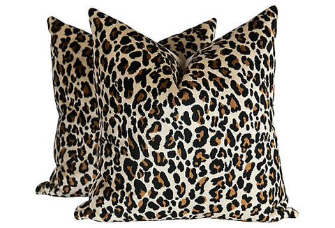 Chenille Leopard Print Pillows, Pair