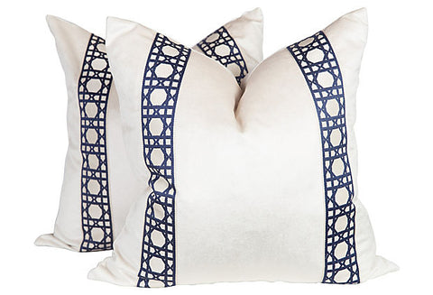 Lattice Velvet Pillows, Pair
