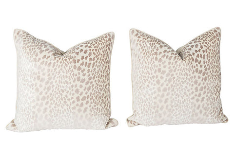 Pearl Velvet Cheetah Pillows, Pair