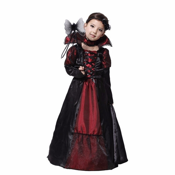 M~XL 2016 Vampire Girl Queen Prinecess Children Cosplay Halloween Costume for Kids Party Carnival Lace Long Dress+ Necklace Suit
