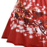Plus Size Lace Panel Father Christmas Midi Party Dress