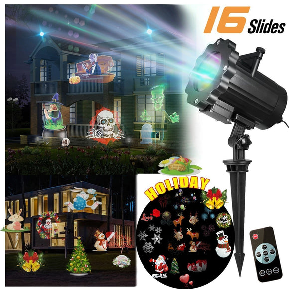 2019 Led Halloween Light Projector Led Landscape Spotlight with 16 Slides Dynamic Lighting Landscape Led Projector Light for Chr