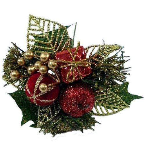 6 x Luxury Red Christmas Picks - Bauble Parcel & Apple - Wreaths Garlands Floristry by A1-Homes