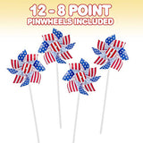 ArtCreativity 6'' Stars and Stripes Pinwheels (Set of 12) | Independence Day Decorations/July 4th Decor for Yard, Garden, Lawn | Patriotic Party Favors for Kids, Adults (Red, White and Blue)