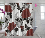 Skulls Decorations Collection, Skull Design Skeletons All Saints Day Halloween Image, Polyester Fabric Bathroom Shower Curtain S