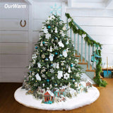 Luxury Faux Fur Christmas Tree Skirt 48 inch New Year White Christmas Tree Decorations for Home