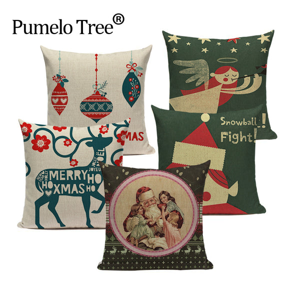 Luxury Christmas cushion covers linen home decoration print pillow cover Throw pillows