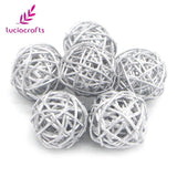 6pcs 5cm Colorful Rattan Balls DIY Ornaments Home Ornament Christmas/Birthday Party Decoration Craft