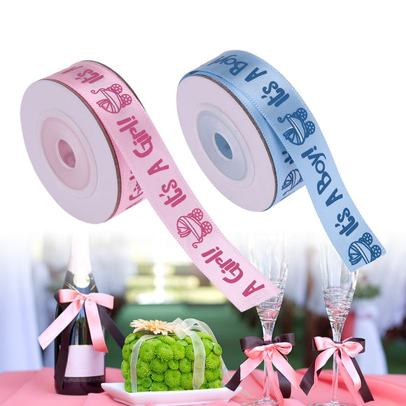 10Yards/Roll IT'S A BOY/GIRL Satin Ribbons Favors Ribbon for Kids Baby Birthday Party