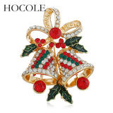 HOCOLE Luxury Rhinestone Bow-knot Xmas Bell Brooches For Women Men Creative Collar Lapel Pins