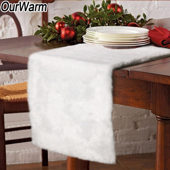 OurWarm Luxury Faux Fur Table Runner 38x183cm Thick White Table Cover Christmas
