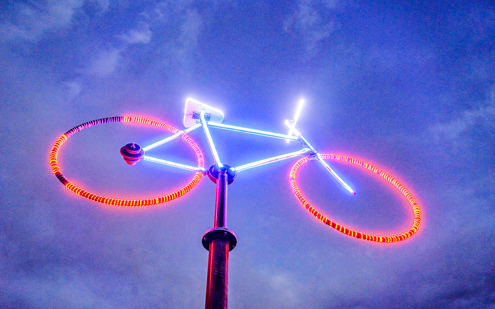 Large Neon Burning Man Art Bike