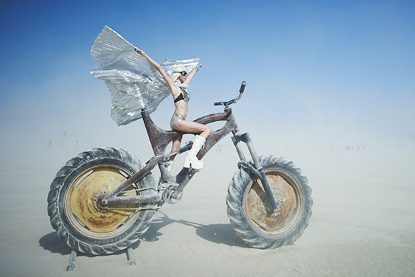 Burner on Huge Art Bike in a Dust Storm