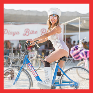 Burner Enjoying her Burning Man Rental Bike from Playa Bike Repair