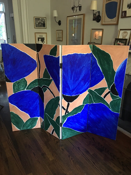"""On A Whim"" Double Sided Four Panel Canvas Screen"