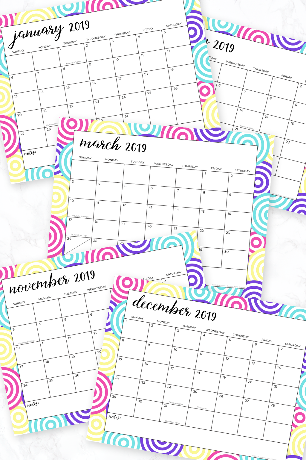printed calendars with color circles in border